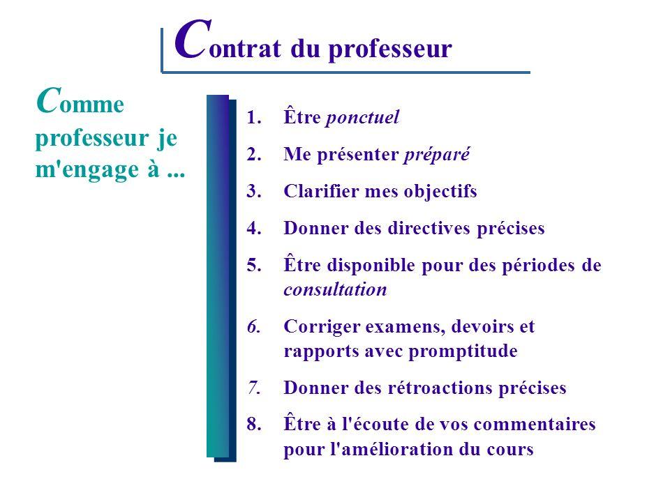 Contrat du professeur Comme professeur je m engage à ...