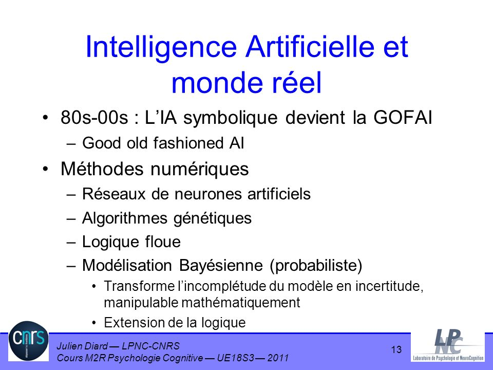 Intelligence Artificielle et monde réel
