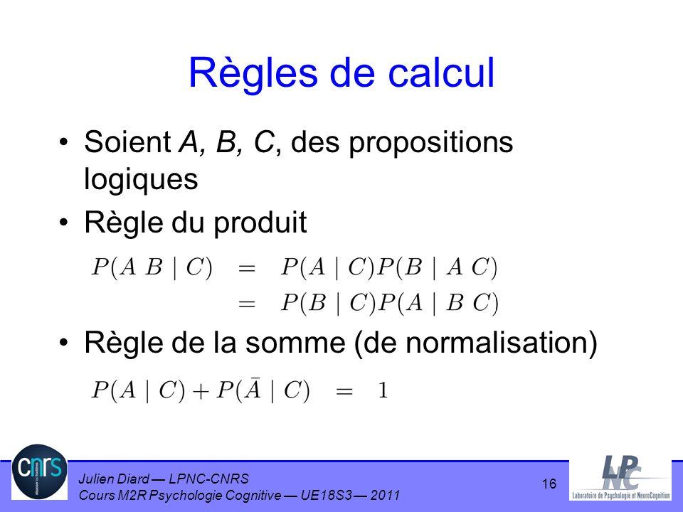 Règles de calcul Soient A, B, C, des propositions logiques