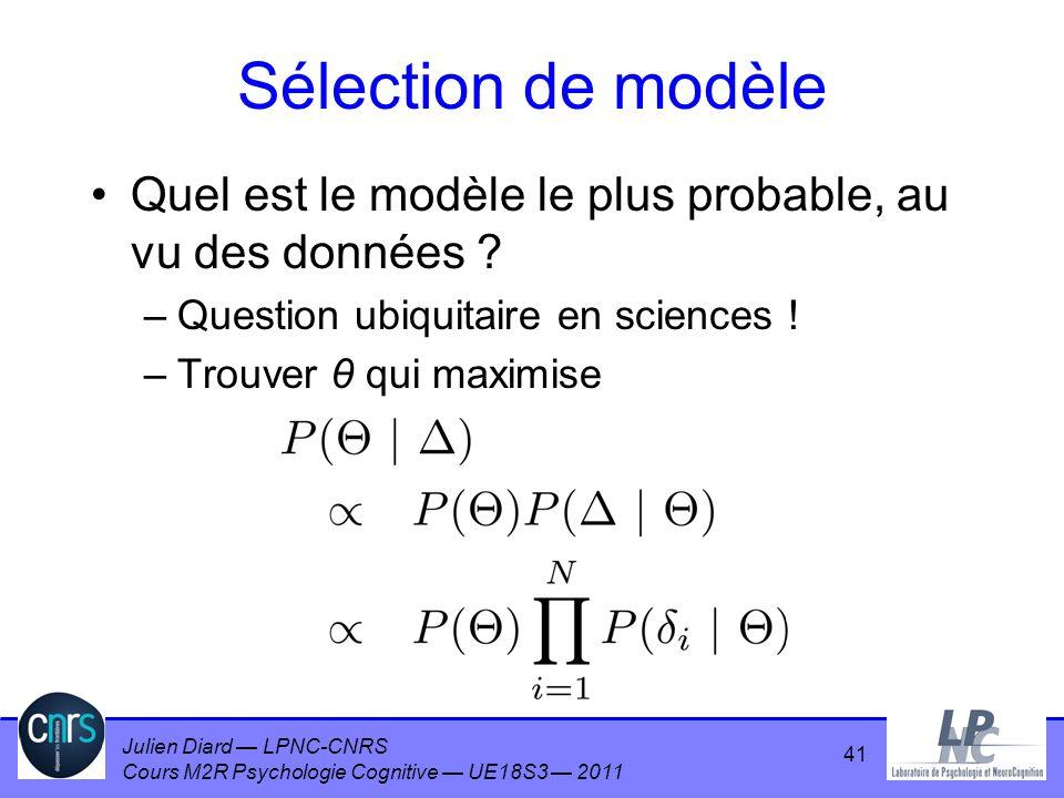 Sélection de modèle Quel est le modèle le plus probable, au vu des données Question ubiquitaire en sciences !