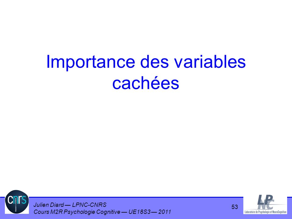 Importance des variables cachées