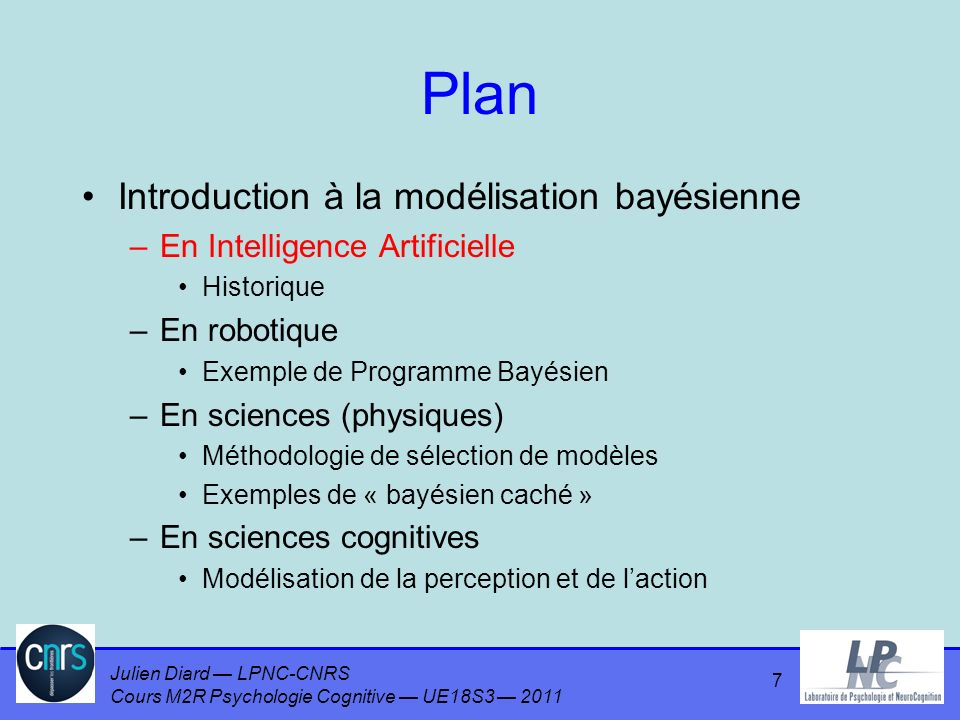 Plan Introduction à la modélisation bayésienne