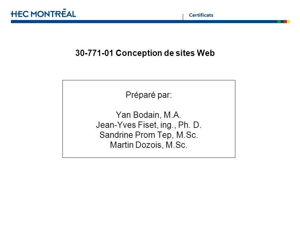30-771-01 Conception de sites Web