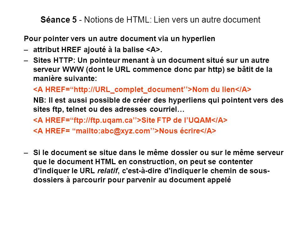Séance 5 - Notions de HTML: Lien vers un autre document