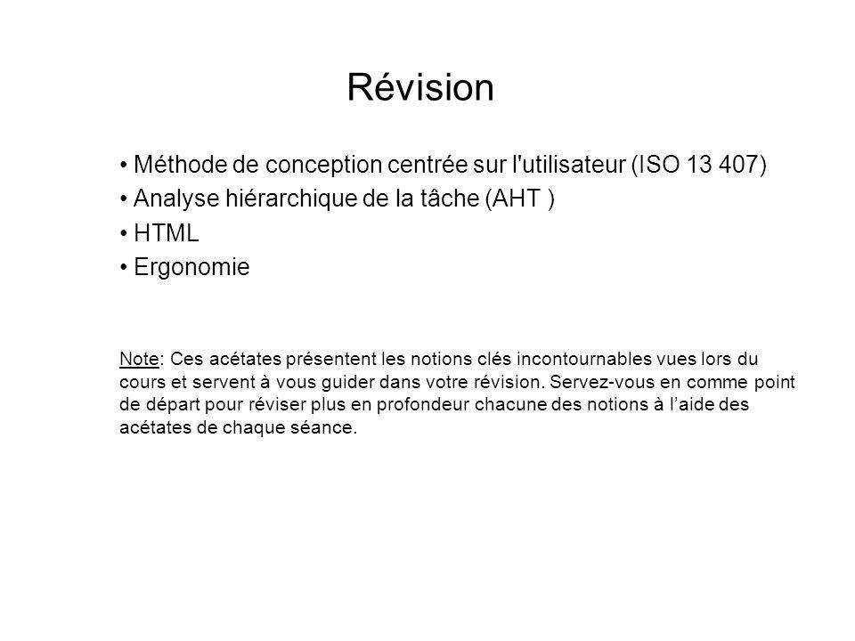 Révision Méthode de conception centrée sur l utilisateur (ISO 13 407)