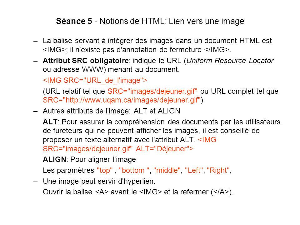 Séance 5 - Notions de HTML: Lien vers une image
