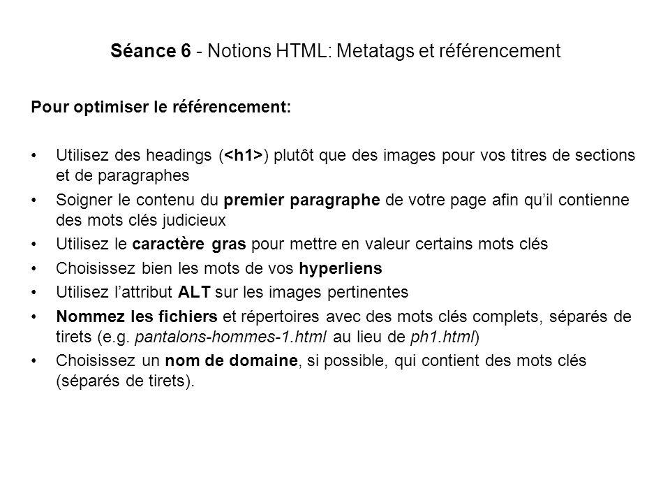 Séance 6 - Notions HTML: Metatags et référencement