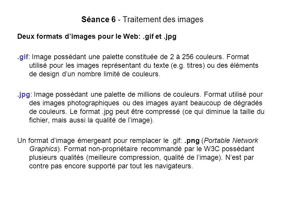Séance 6 - Traitement des images