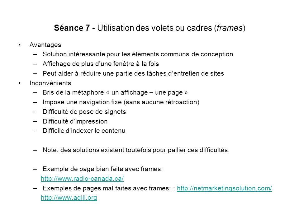 Séance 7 - Utilisation des volets ou cadres (frames)