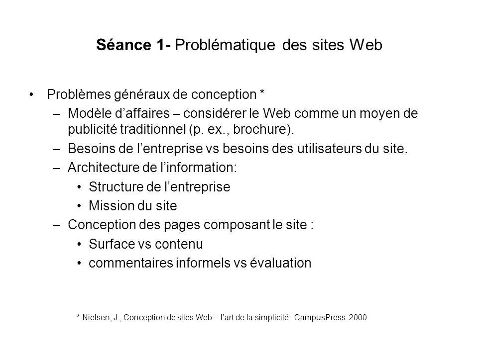 Séance 1- Problématique des sites Web