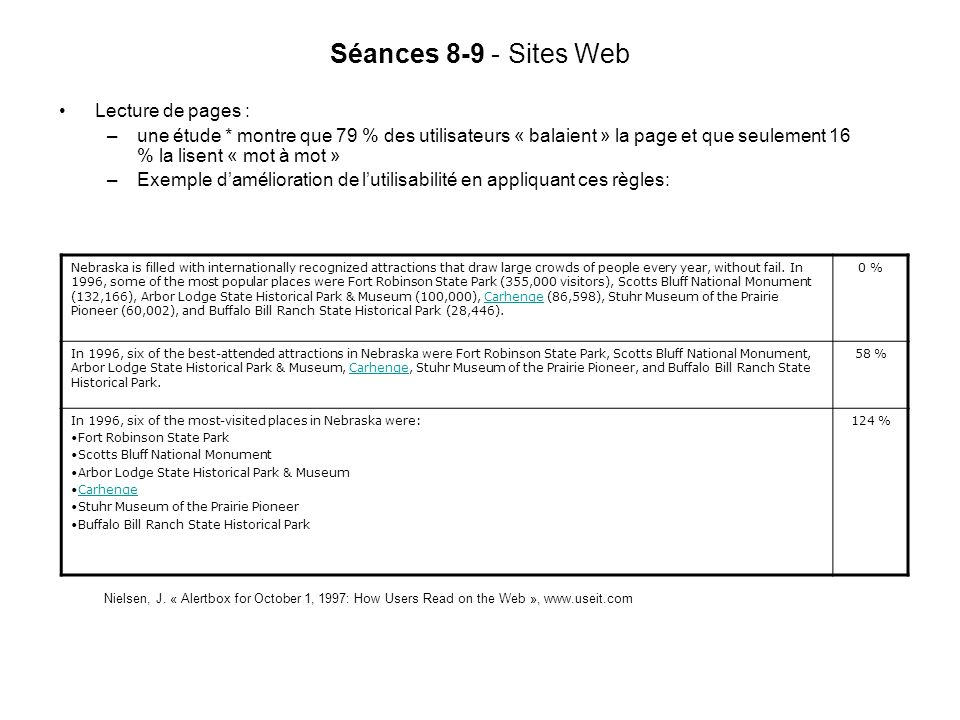 Séances 8-9 - Sites Web Lecture de pages :
