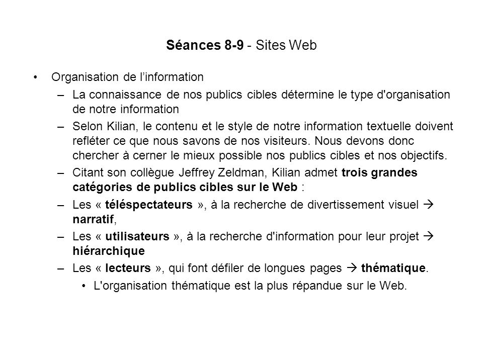 Séances 8-9 - Sites Web Organisation de l'information