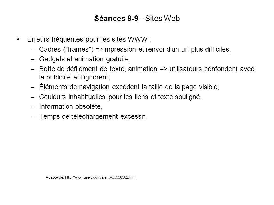 Séances 8-9 - Sites Web Erreurs fréquentes pour les sites WWW :