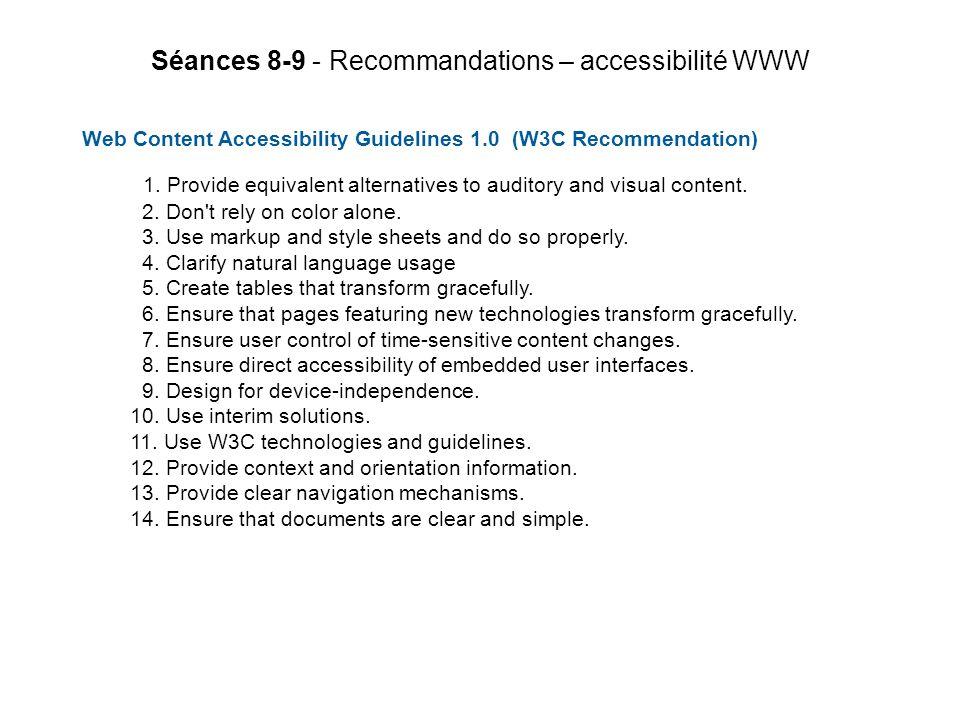 Séances 8-9 - Recommandations – accessibilité WWW