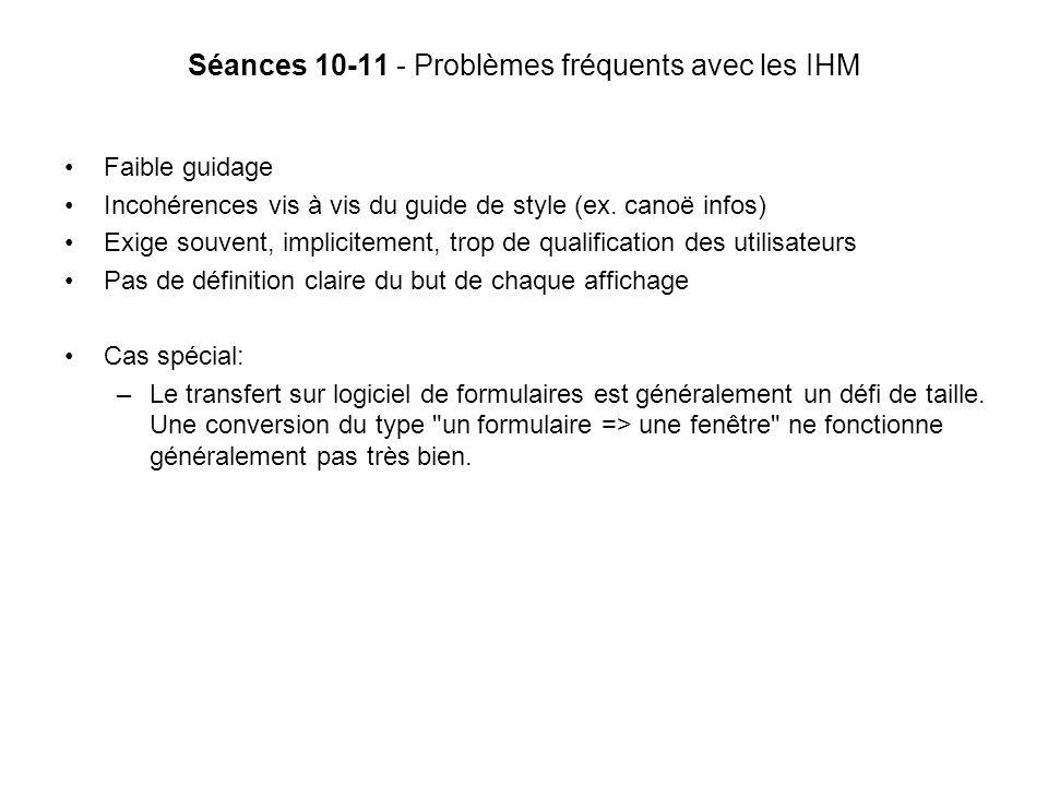 Séances 10-11 - Problèmes fréquents avec les IHM