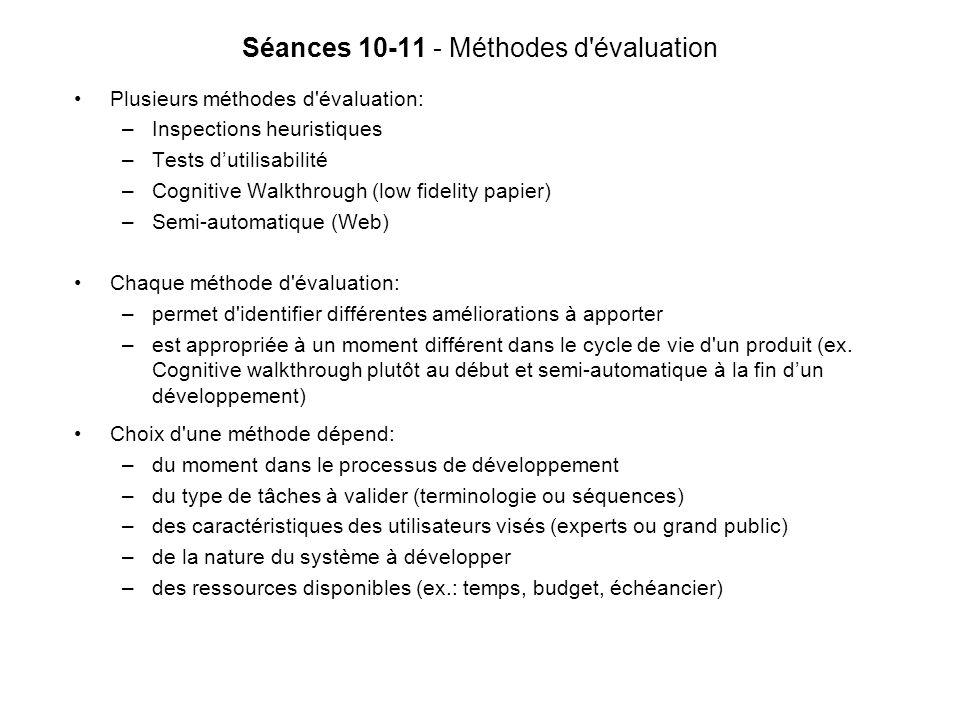 Séances 10-11 - Méthodes d évaluation