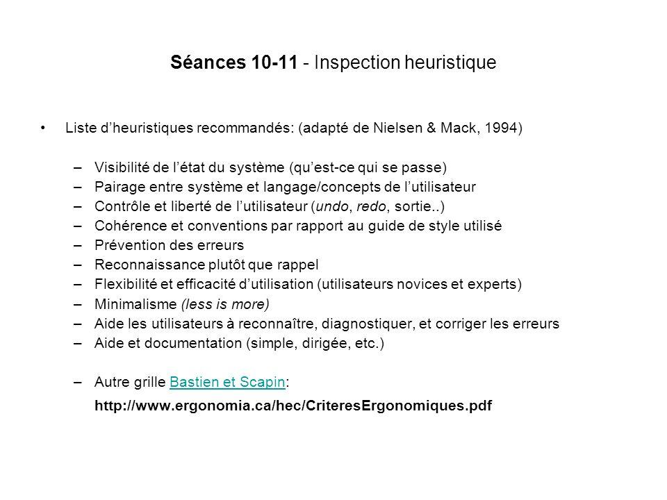 Séances 10-11 - Inspection heuristique