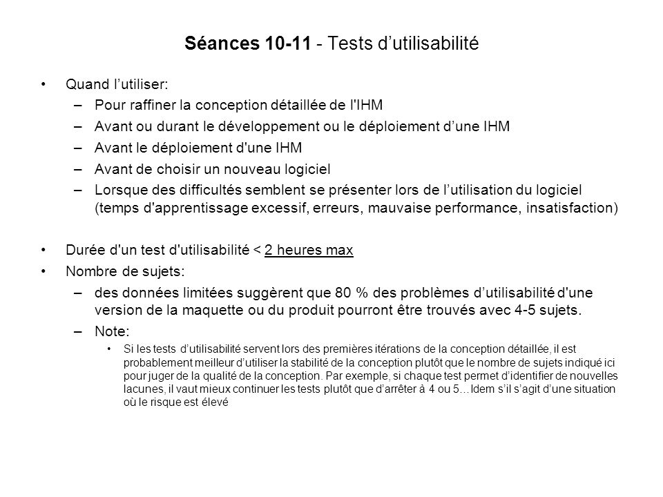 Séances 10-11 - Tests d'utilisabilité