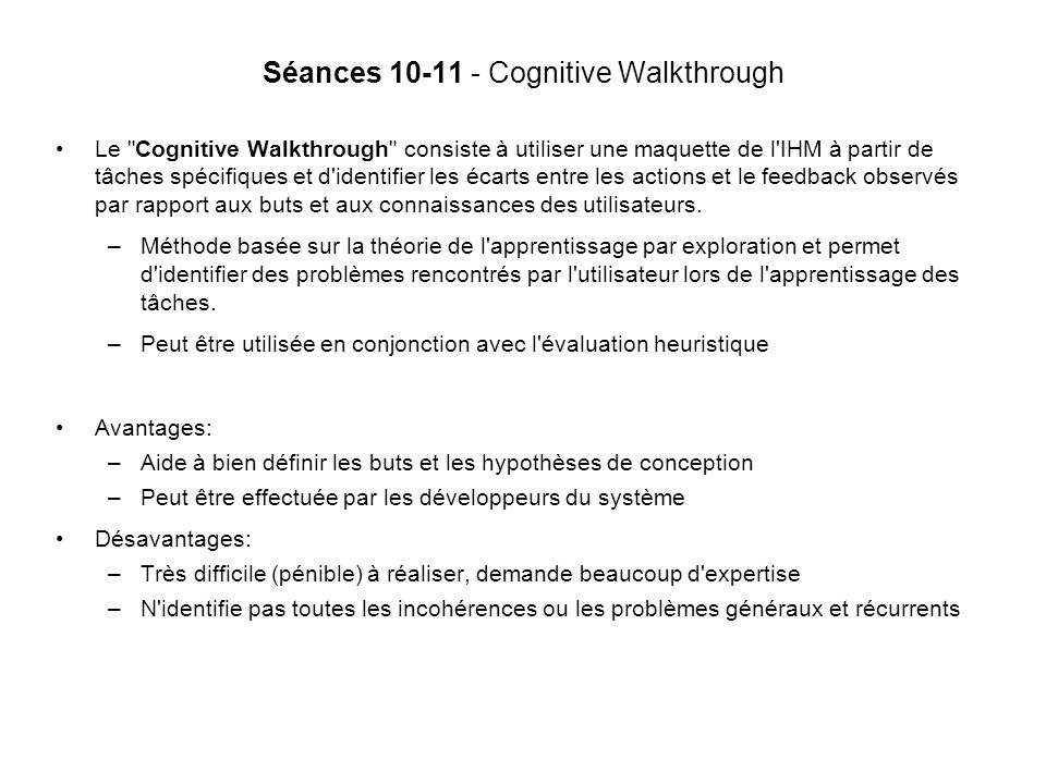 Séances 10-11 - Cognitive Walkthrough