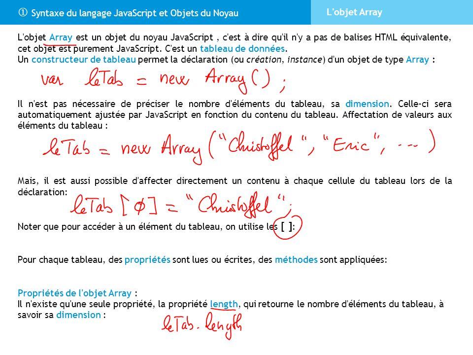  Syntaxe du langage JavaScript et Objets du Noyau