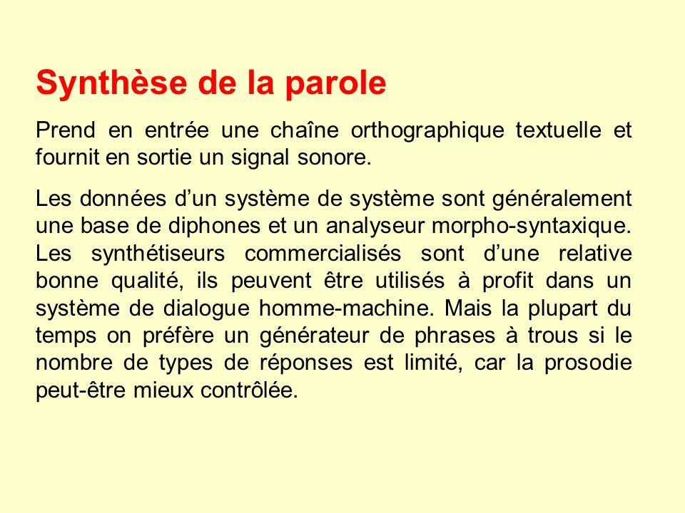 Synthèse de la parole Prend en entrée une chaîne orthographique textuelle et fournit en sortie un signal sonore.