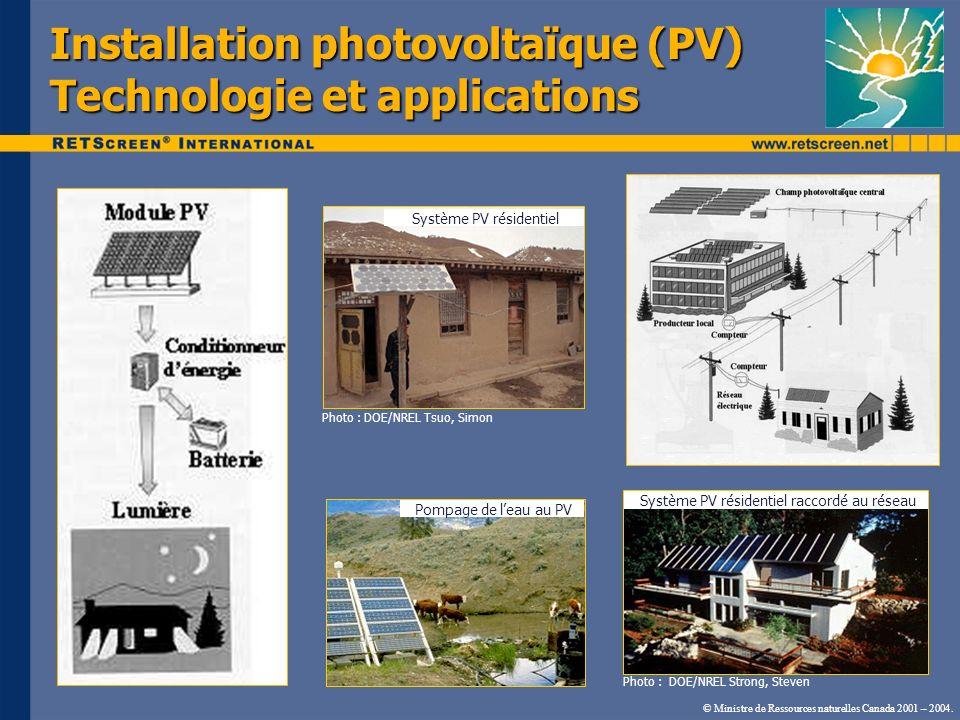Installation photovoltaïque (PV) Technologie et applications