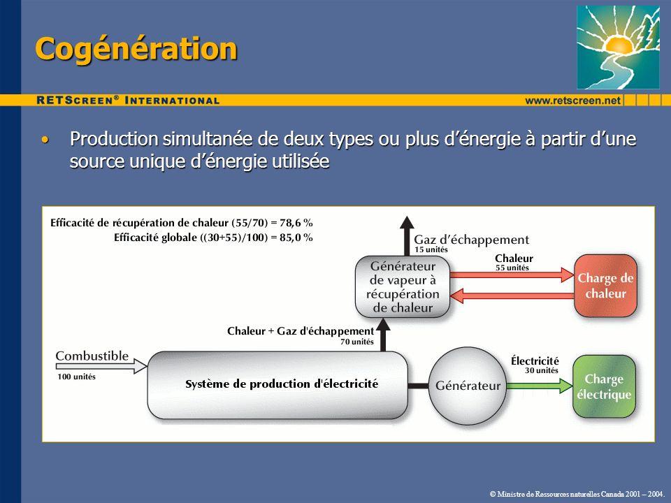 Cogénération Production simultanée de deux types ou plus d'énergie à partir d'une source unique d'énergie utilisée.