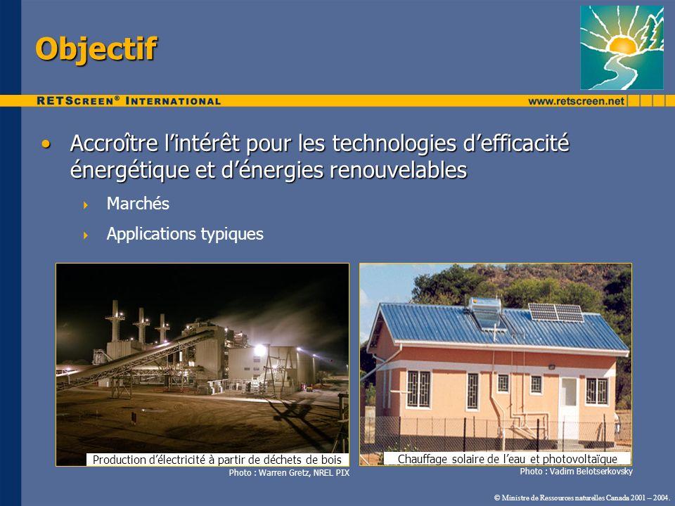 Objectif Accroître l'intérêt pour les technologies d'efficacité énergétique et d'énergies renouvelables.