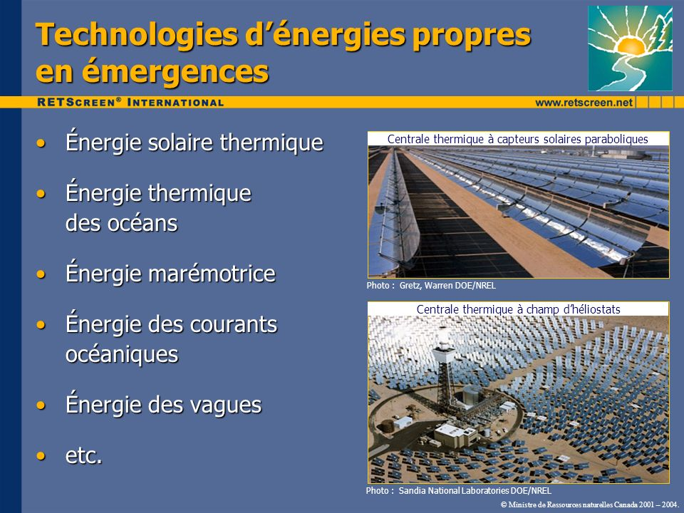 Technologies d'énergies propres en émergences