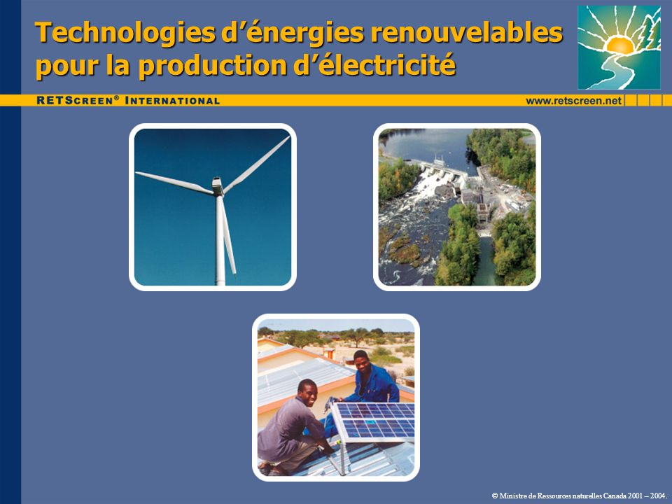 Technologies d'énergies renouvelables pour la production d'électricité