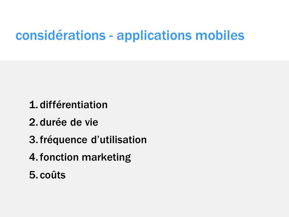 considérations - applications mobiles