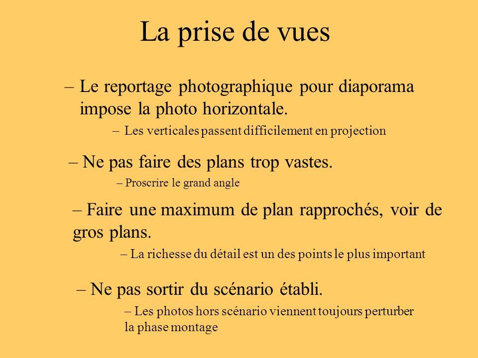 La prise de vues Le reportage photographique pour diaporama impose la photo horizontale. Les verticales passent difficilement en projection.
