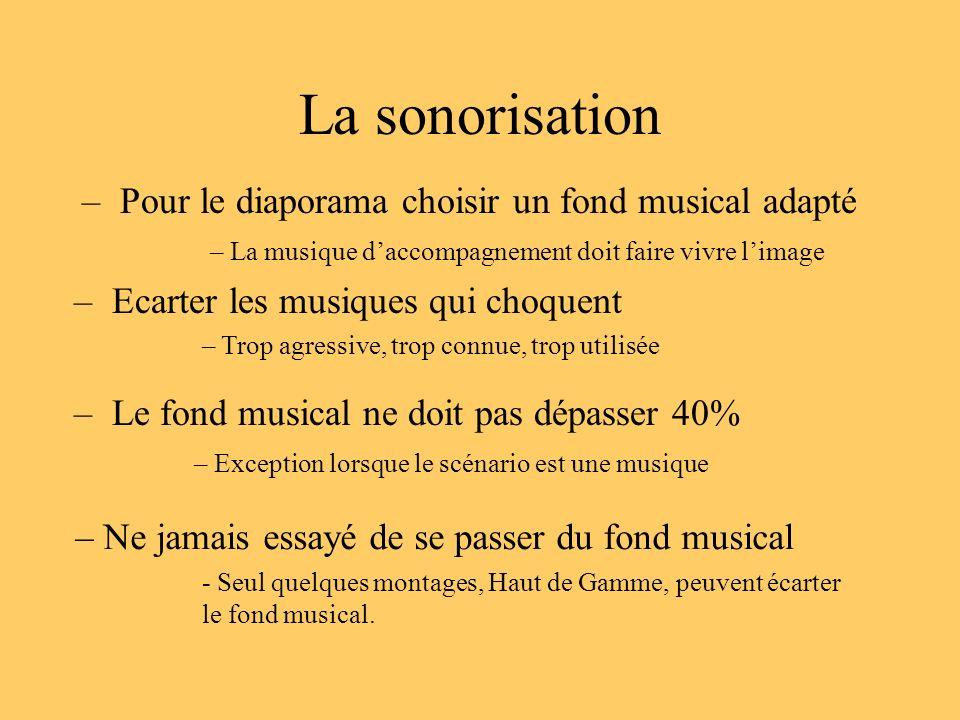 La sonorisation Pour le diaporama choisir un fond musical adapté