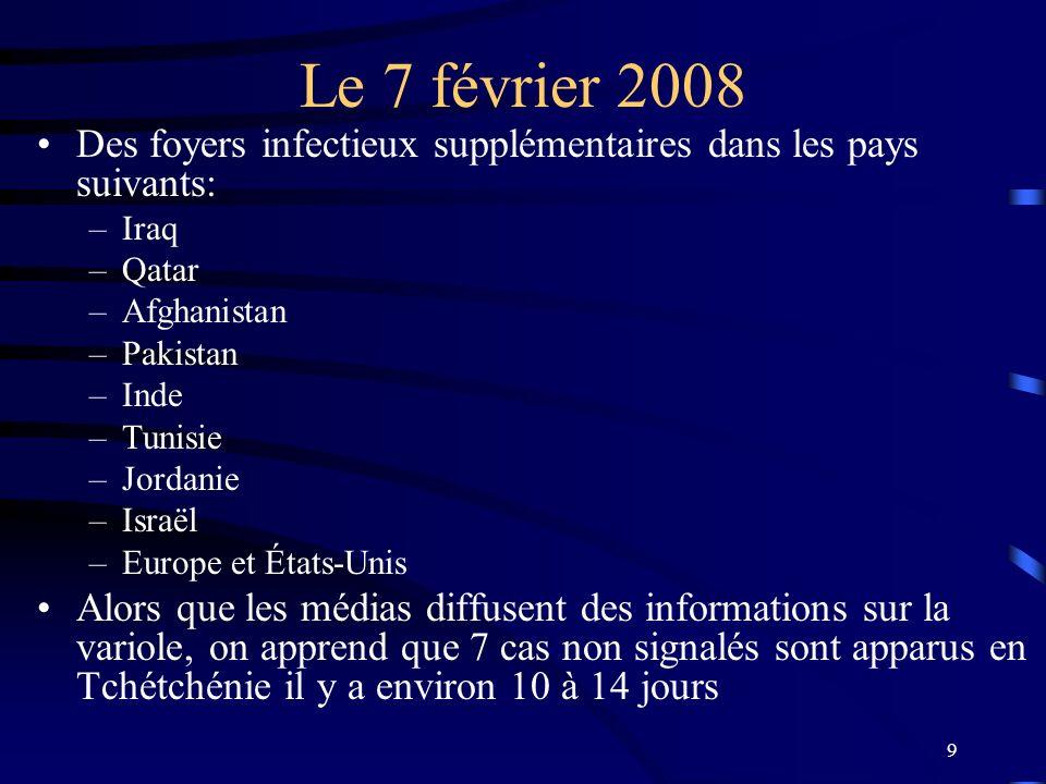 Le 7 février 2008 Des foyers infectieux supplémentaires dans les pays suivants: Iraq. Qatar. Afghanistan.