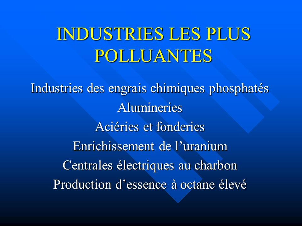 INDUSTRIES LES PLUS POLLUANTES