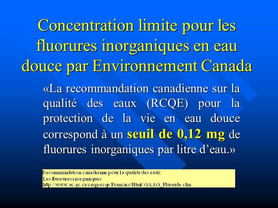 Concentration limite pour les fluorures inorganiques en eau douce par Environnement Canada