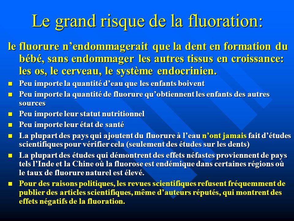 Le grand risque de la fluoration: