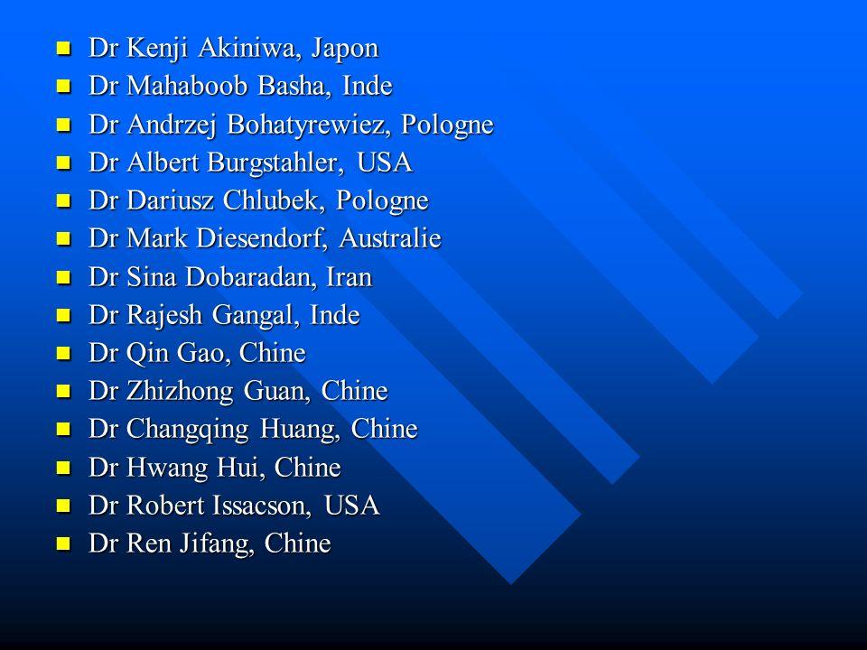 Dr Kenji Akiniwa, Japon Dr Mahaboob Basha, Inde. Dr Andrzej Bohatyrewiez, Pologne. Dr Albert Burgstahler, USA.