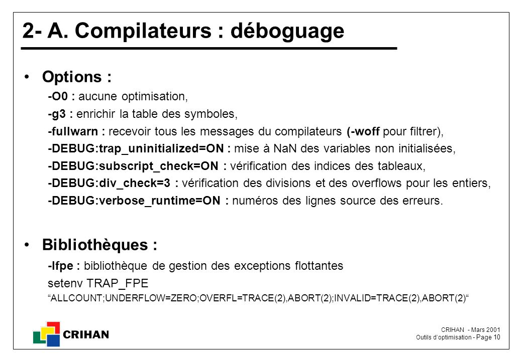 2- A. Compilateurs : déboguage