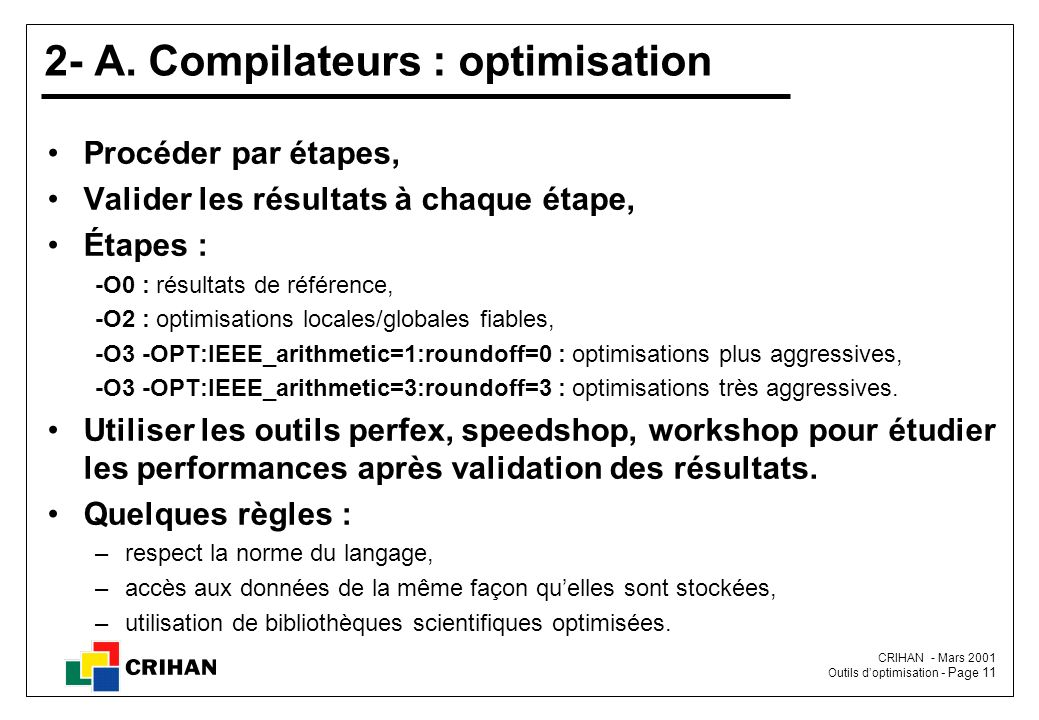2- A. Compilateurs : optimisation