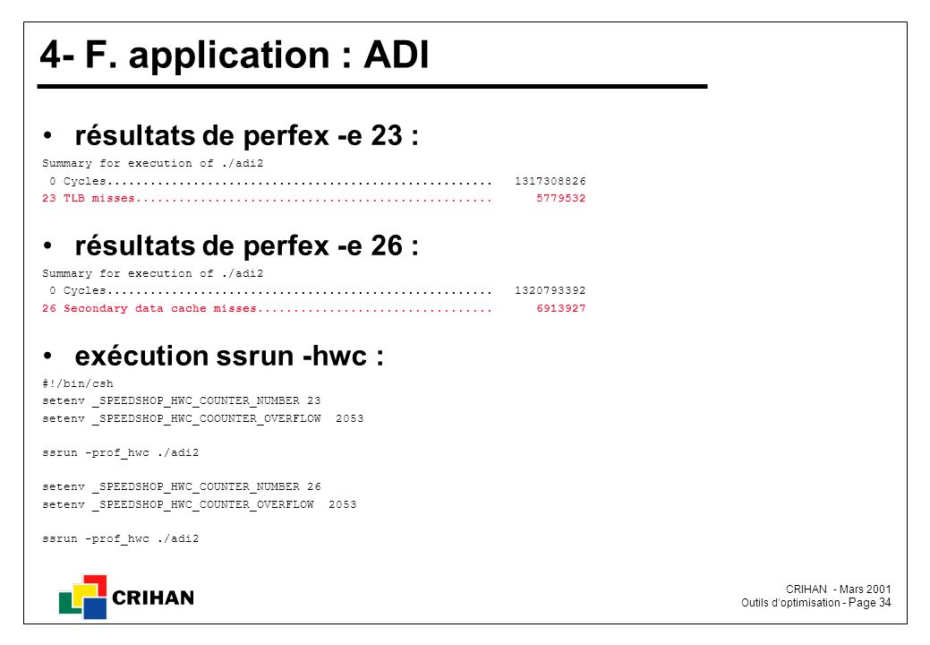 4- F. application : ADI résultats de perfex -e 23 :