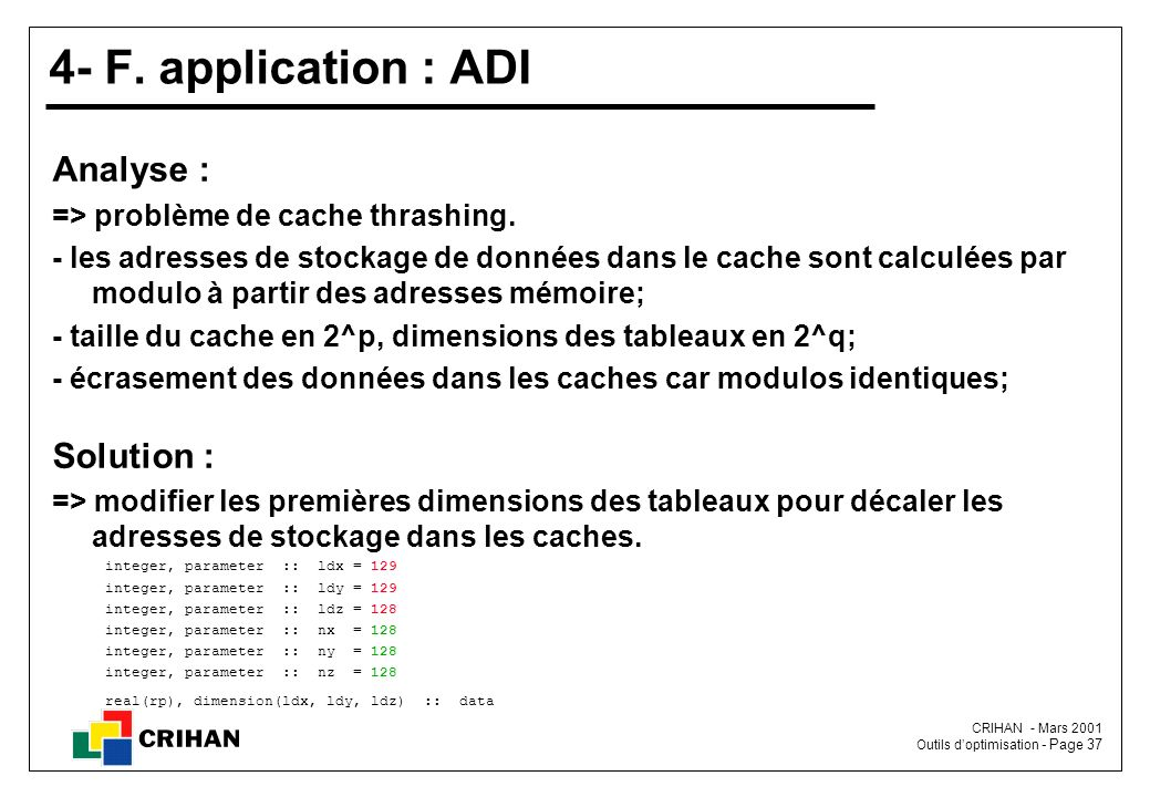 4- F. application : ADI Analyse : Solution :