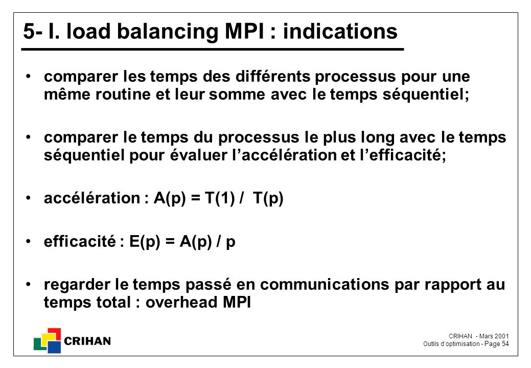 5- I. load balancing MPI : indications