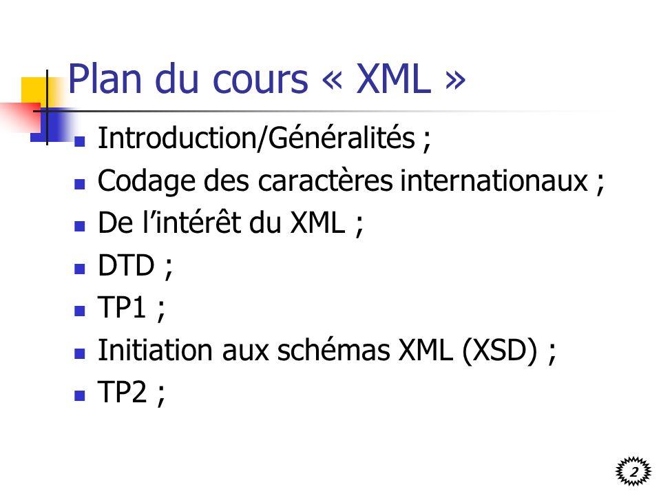 Plan du cours « XML » Introduction/Généralités ;