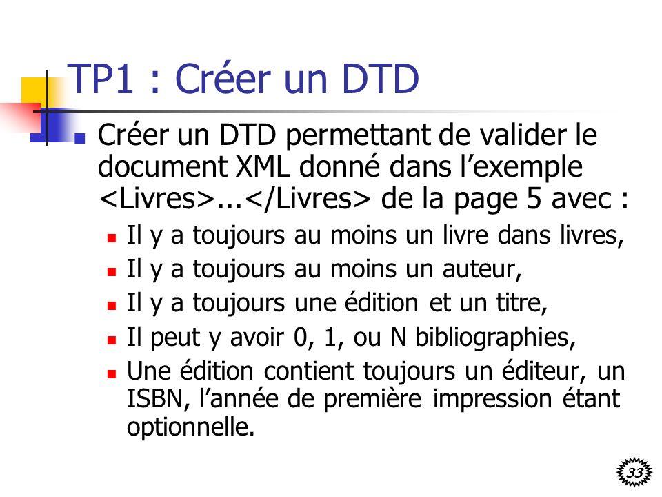 TP1 : Créer un DTD Créer un DTD permettant de valider le document XML donné dans l'exemple <Livres>...</Livres> de la page 5 avec :