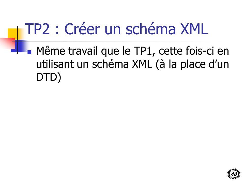 TP2 : Créer un schéma XML Même travail que le TP1, cette fois-ci en utilisant un schéma XML (à la place d'un DTD)