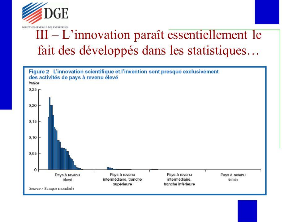 III – L'innovation paraît essentiellement le fait des développés dans les statistiques…