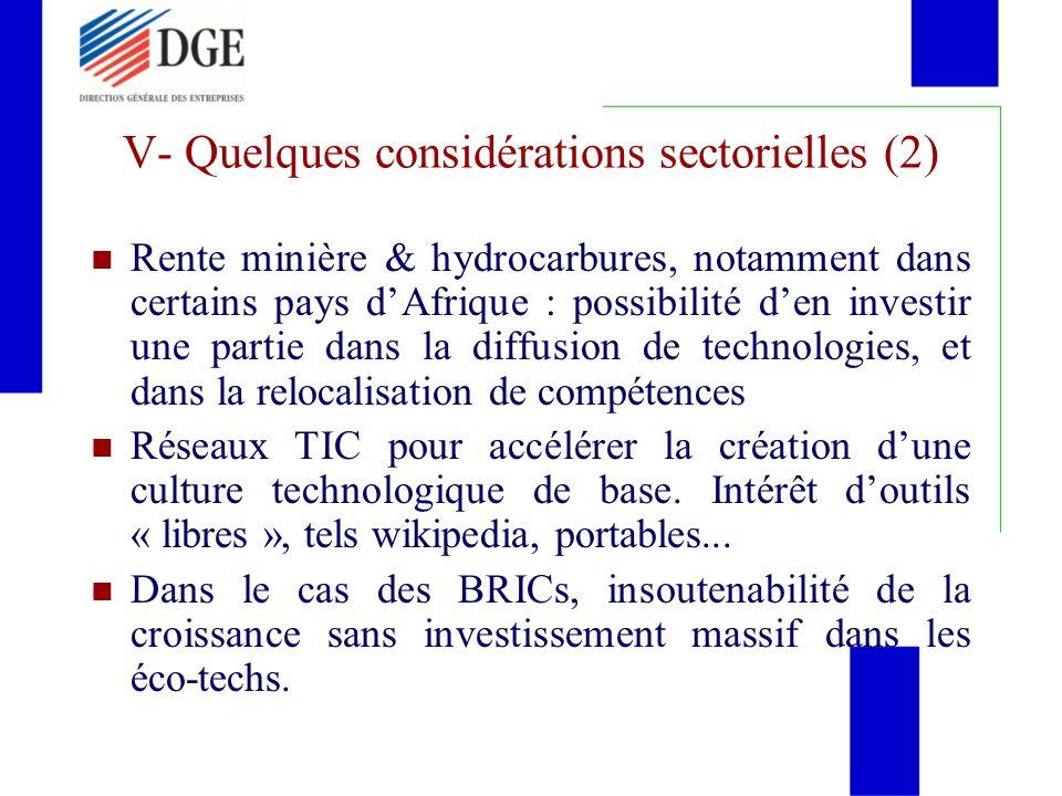 V- Quelques considérations sectorielles (2)