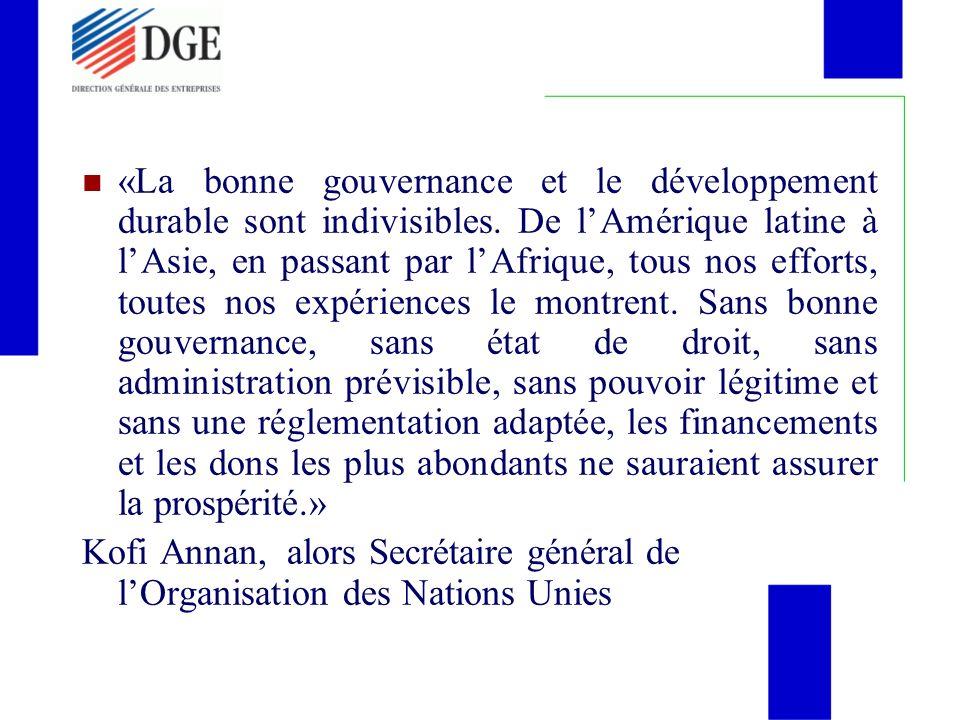 «La bonne gouvernance et le développement durable sont indivisibles
