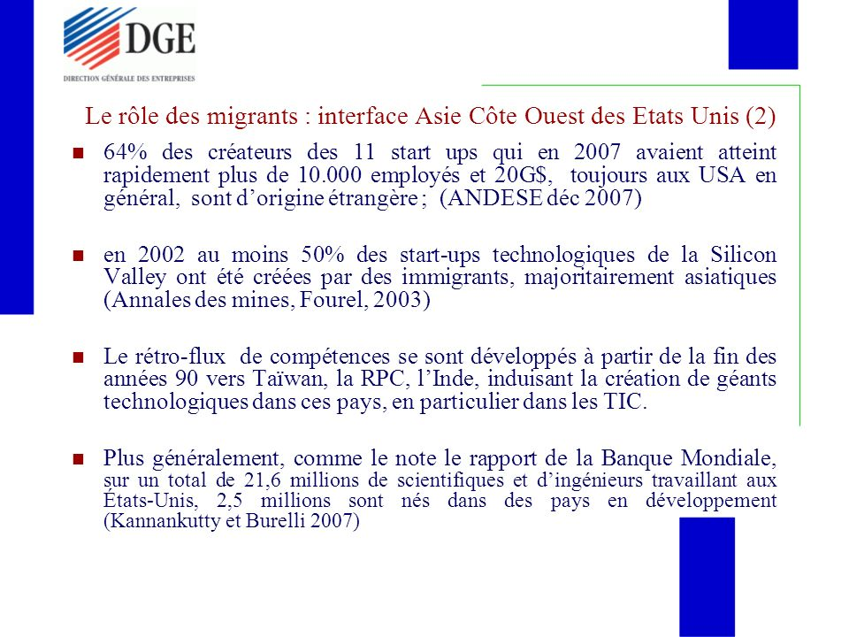 Le rôle des migrants : interface Asie Côte Ouest des Etats Unis (2)